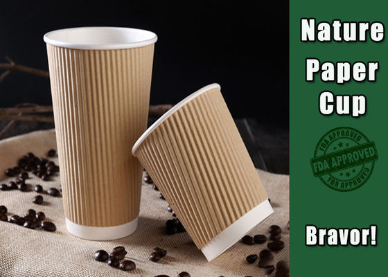 Insulated Printed Brown Kraft Paper Cups with Lids Certyfikat BRC